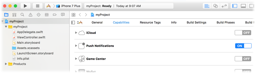 Image of turning on Push Notifications capabilities in Xcode
